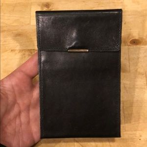 Versace black leather card wallet case holder